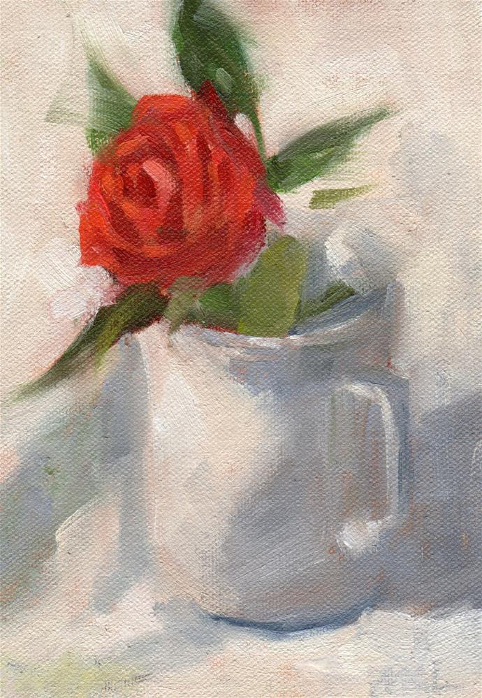 """Red Rose in White on White"" original fine art by Marlene Lee"