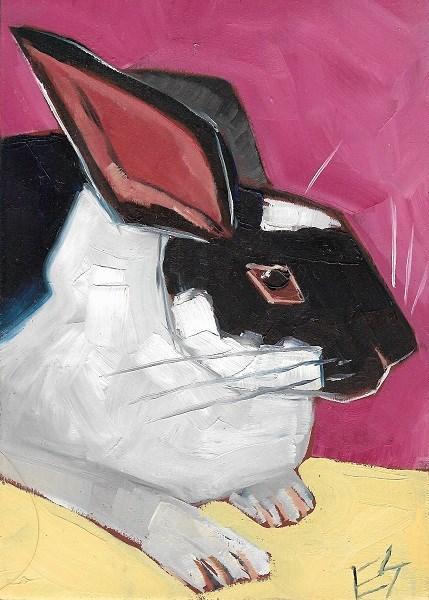 """Rabbit On Pink"" original fine art by Elizabeth See"