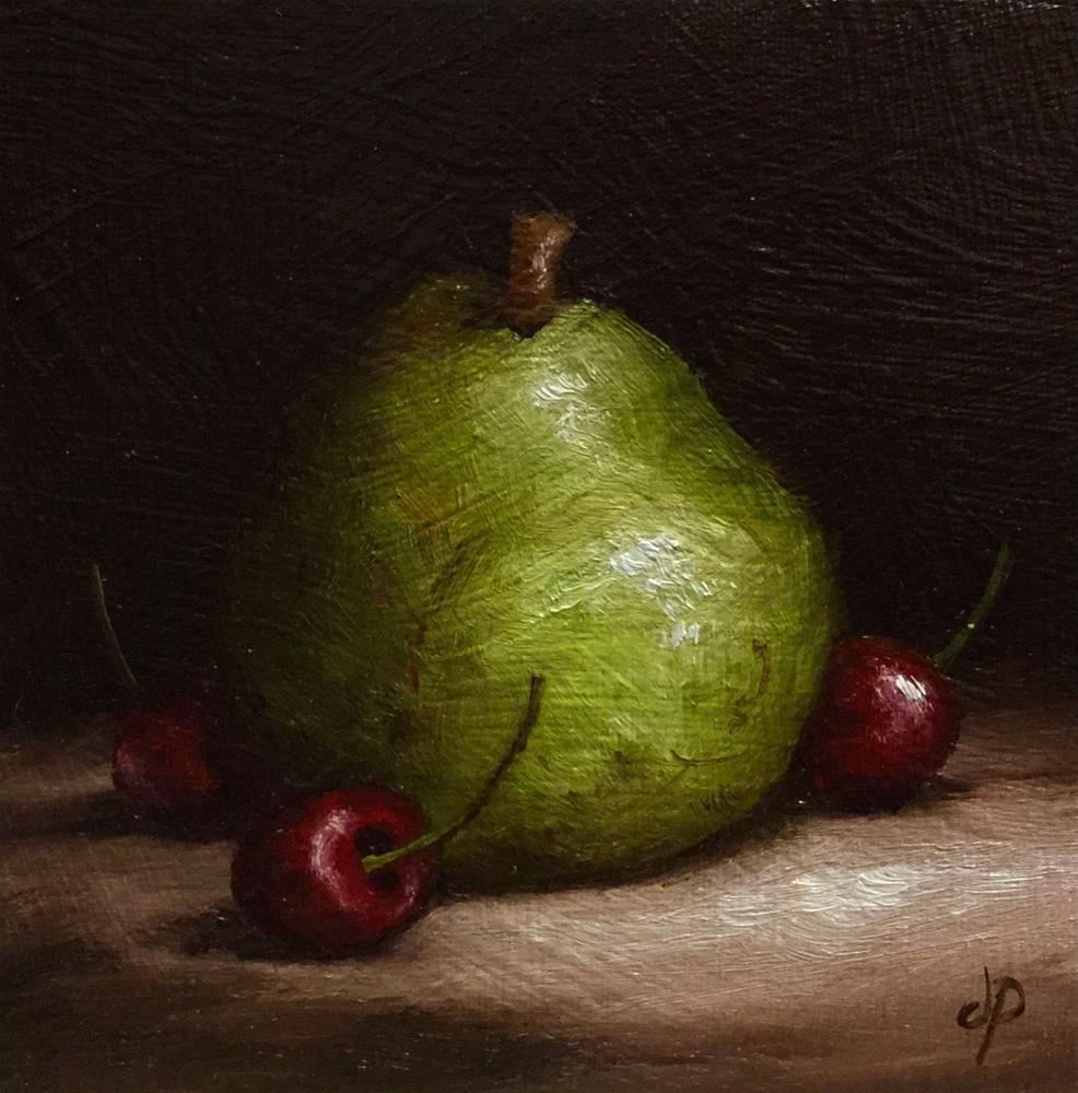 """""""Comice Pear with Cherries"""" original fine art by Jane Palmer"""