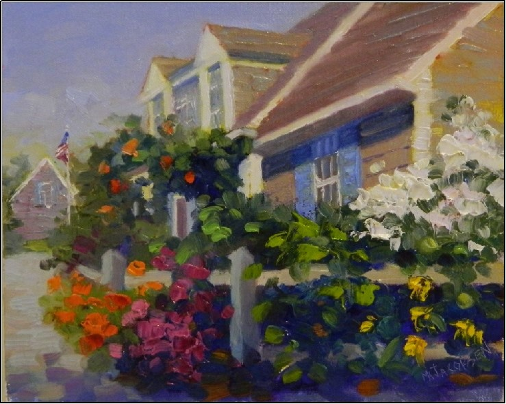 """Summer Garden, Provincetown, 8x10, oil, Cape Cod, Provincetown, beautiful gardens, summer gardens,"" original fine art by Maryanne Jacobsen"