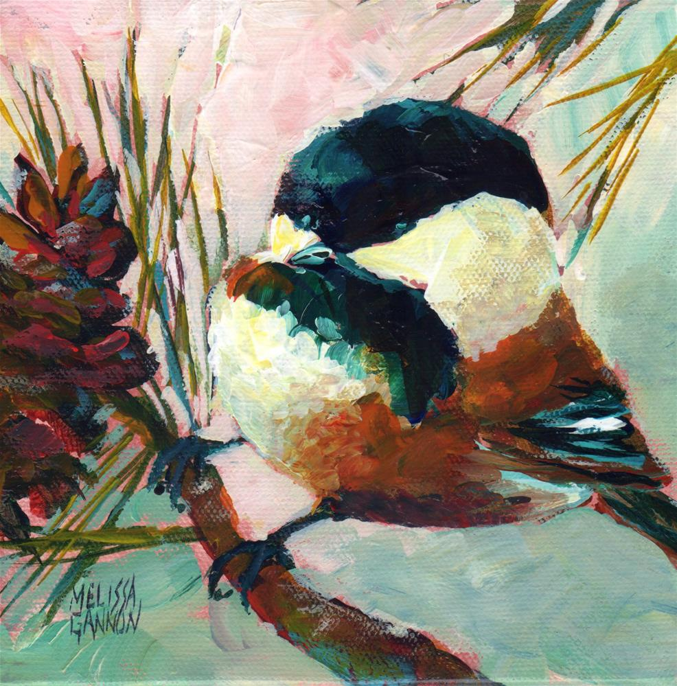 """Chickadee Perch"" original fine art by Melissa Gannon"