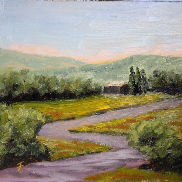 """Distant Barn"" original fine art by Jane Frederick"