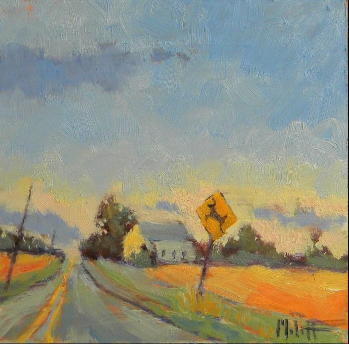 """Deer Crossing  Rural Landscape Original Oil Painting"" original fine art by Heidi Malott"