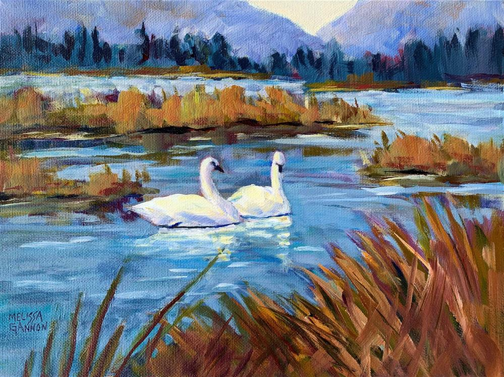 """Marsh & Swans"" original fine art by Melissa Gannon"