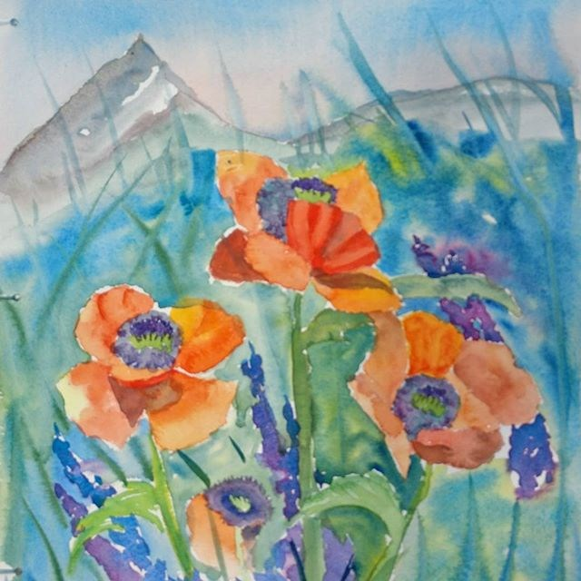 """Alpengow Poppies"" original fine art by Maria Peagler"