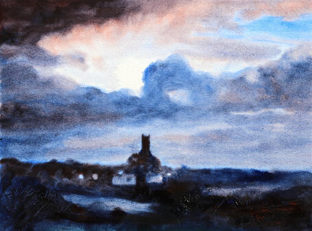 """""""Nocturne, Hartland Church, Devon"""" original fine art by Christine Derrick"""