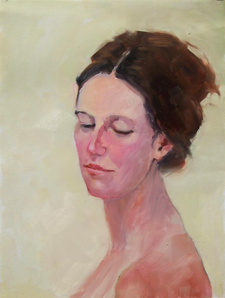 """Model Jenna,portrait,oil on canvas pad,16x12,priceNFS"" original fine art by Joy Olney"