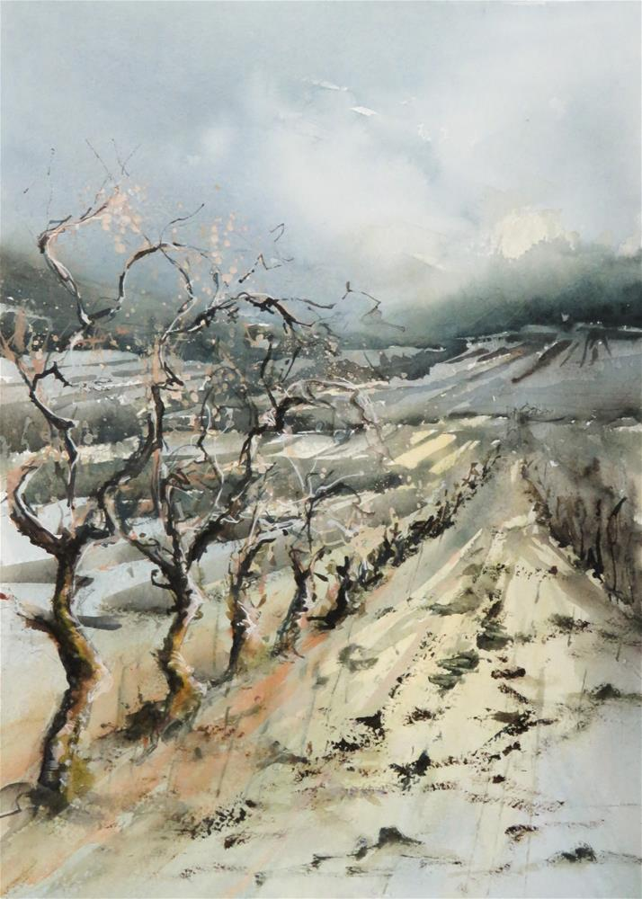 """vineyard in wintertime"" original fine art by Christa Friedl"