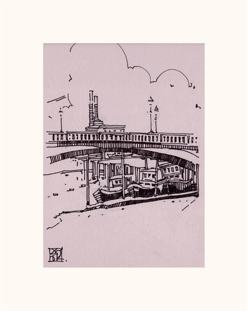 """""""Boats under the Arch Bridge"""" original fine art by Natalia Avdeeva"""
