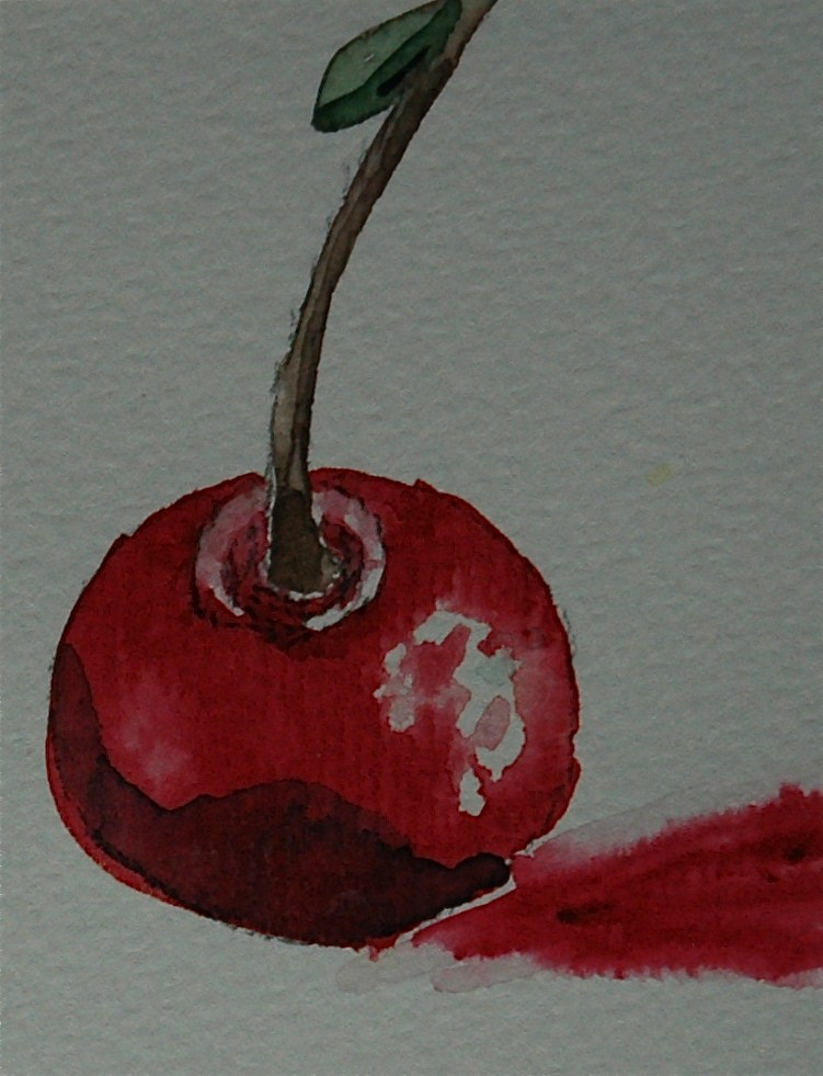"""Red cherry"" original fine art by Ulrike Schmidt"
