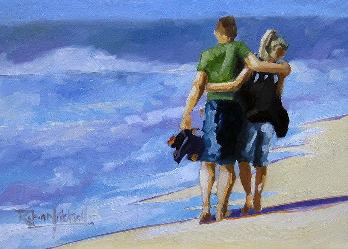 """""""No 547 Looking for Shells"""" original fine art by Robin J Mitchell"""