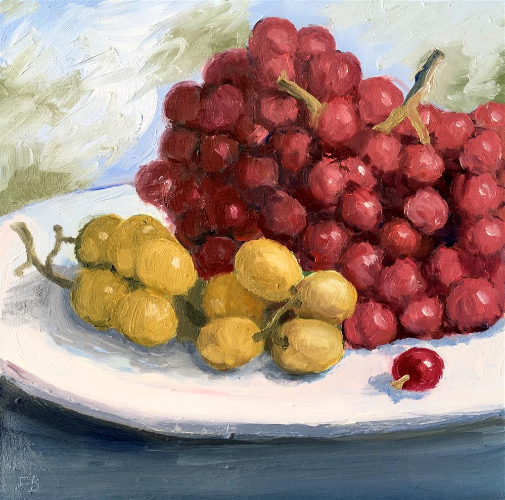"""""""050, Green & Red Grapes, Daily Painting Ritual, 6x6, Free Shipping"""" original fine art by Fred Bell"""