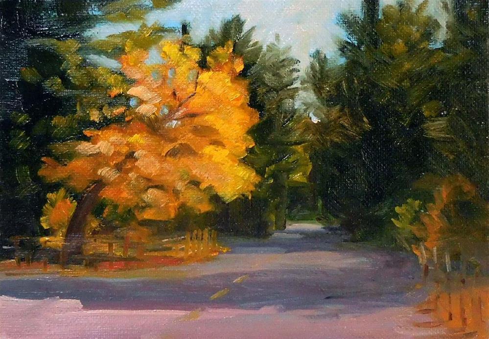 """Downtown Whitethorn, Fall"" original fine art by Cietha Wilson"