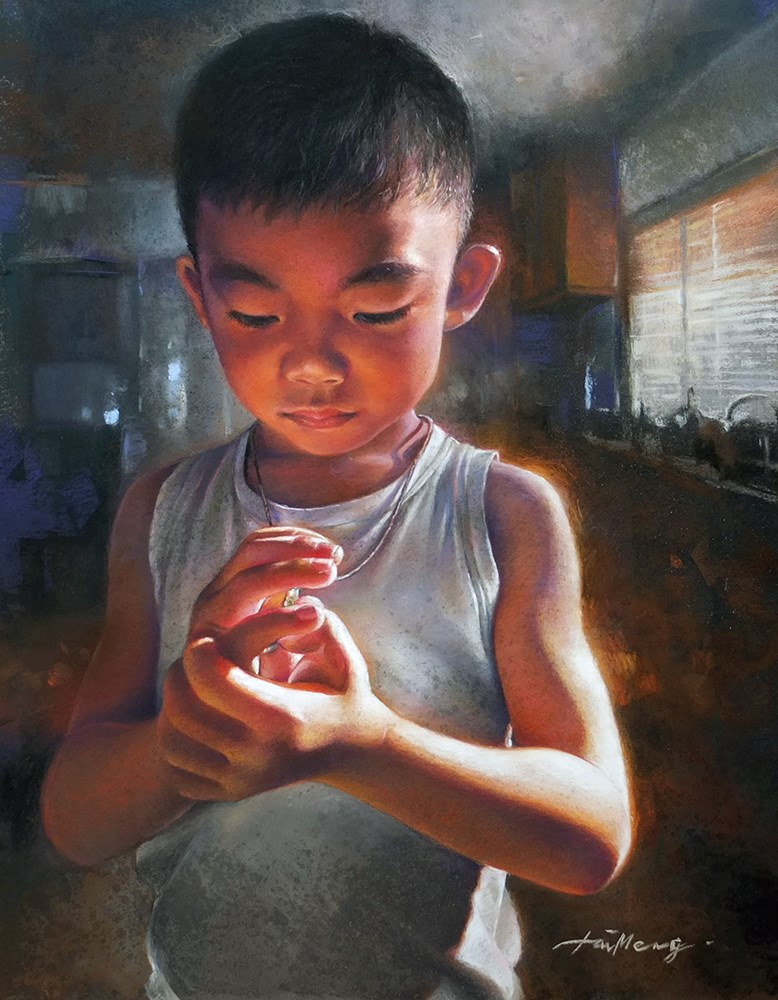 """Deep In Thoughts and Play"" original fine art by TaiMeng Lim"