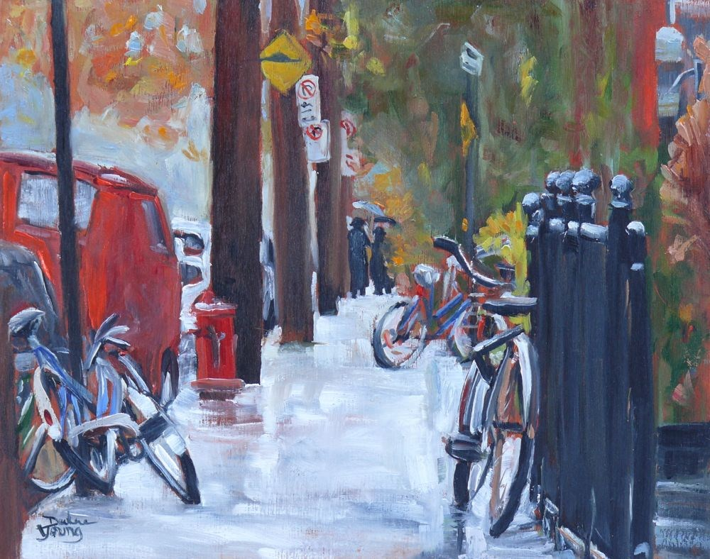 """553 Rue Jeanne-Mance"" original fine art by Darlene Young"