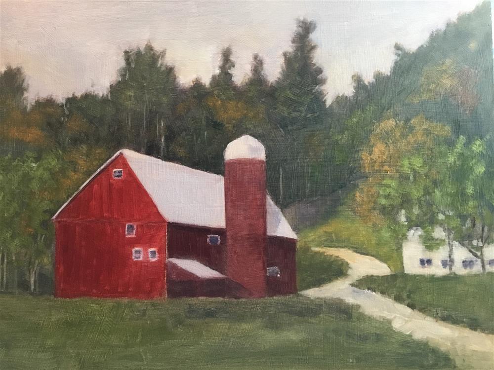 """Red barn"" original fine art by Betty Argiros"