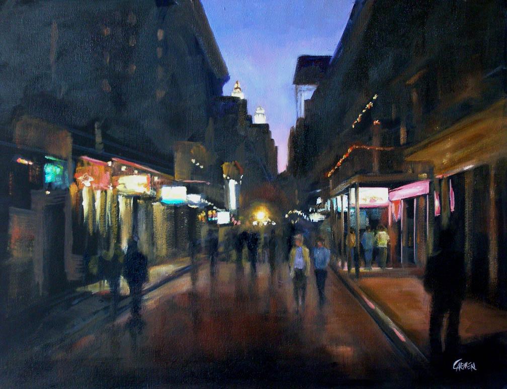 """""""Bourbon Street, 11x14 Oil on Canvas Board"""" original fine art by Carmen Beecher"""