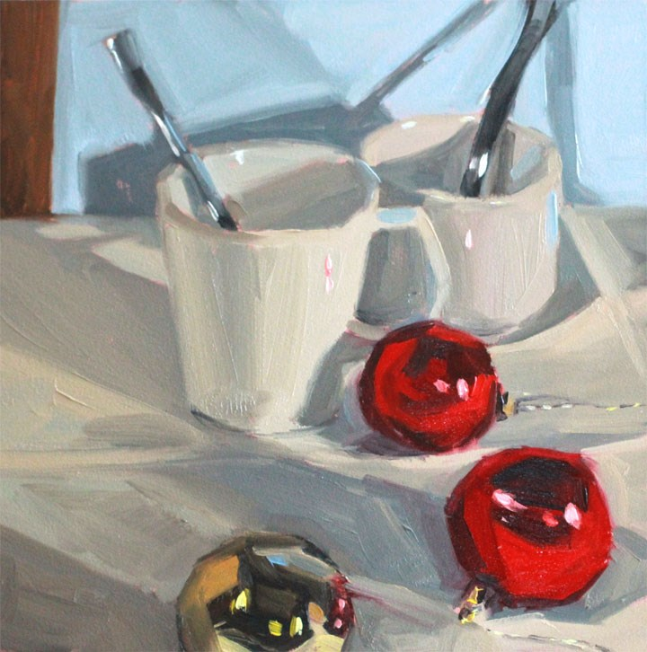 """Holiday Cheer: Peppermint Cappuccino"" original fine art by Nealy May Riley"