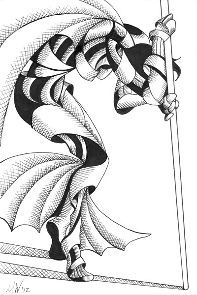 """""""Mark Webster - V. Nixie 17.15 - Abstract Geometric Futurist Figurative Ink Drawing"""" original fine art by Mark Webster"""