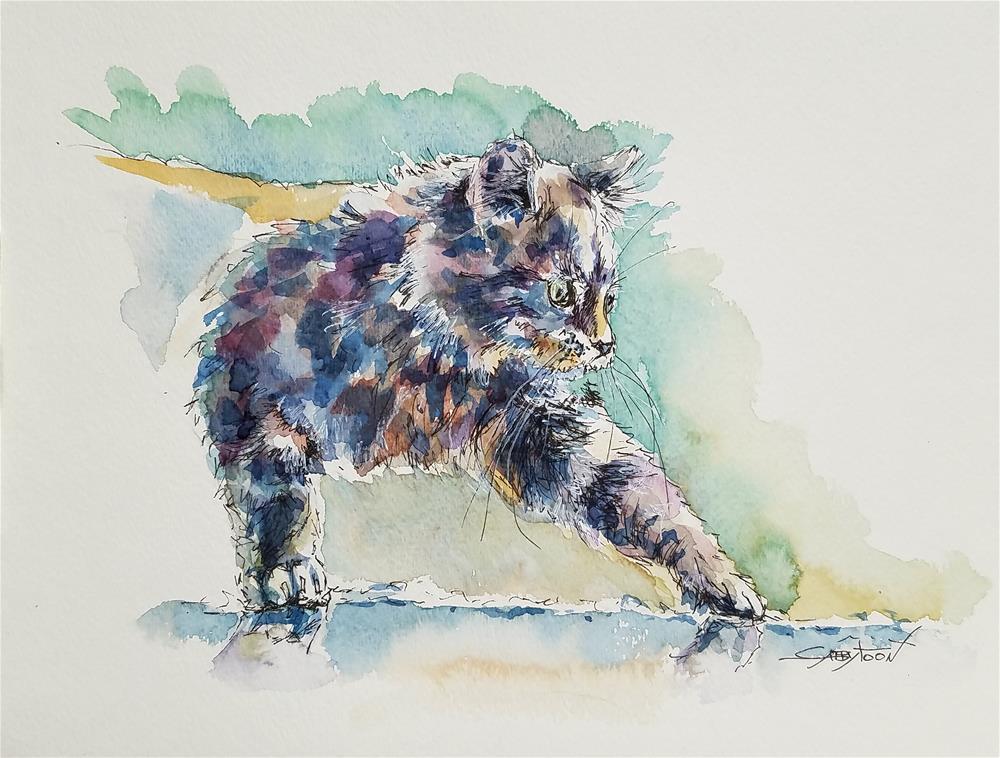 """""""Careful Cat"""" original fine art by Gabriella DeLamater"""