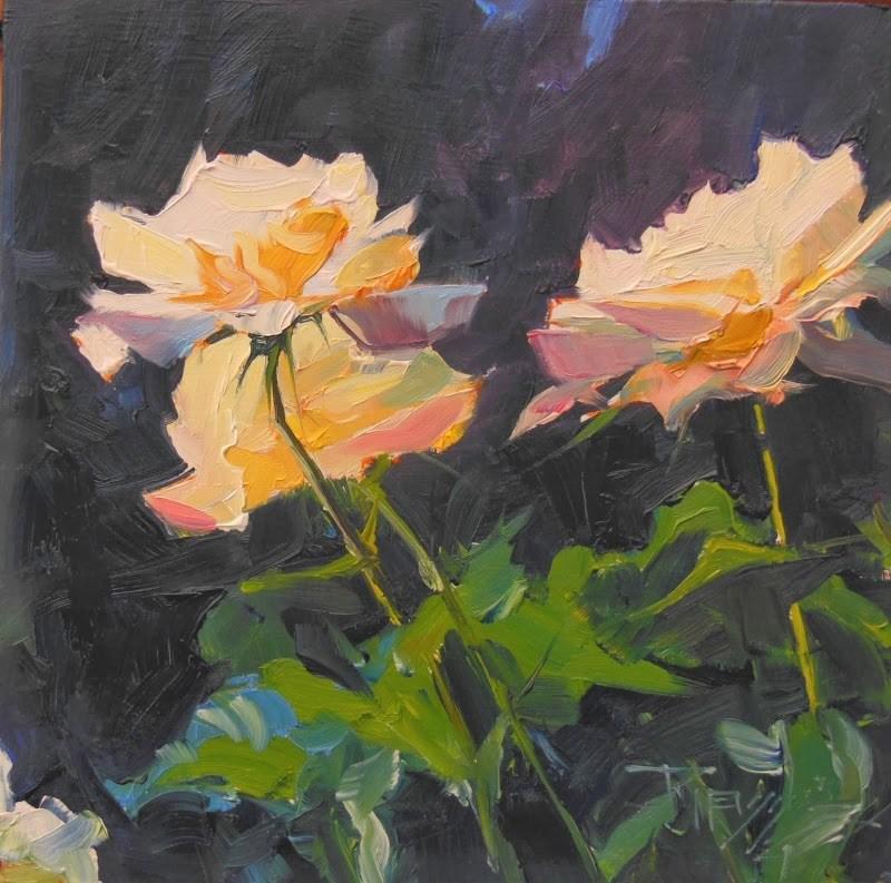 """""""Sun Dance  rose painting series #4  by Robin Weiss"""" original fine art by Robin Weiss"""