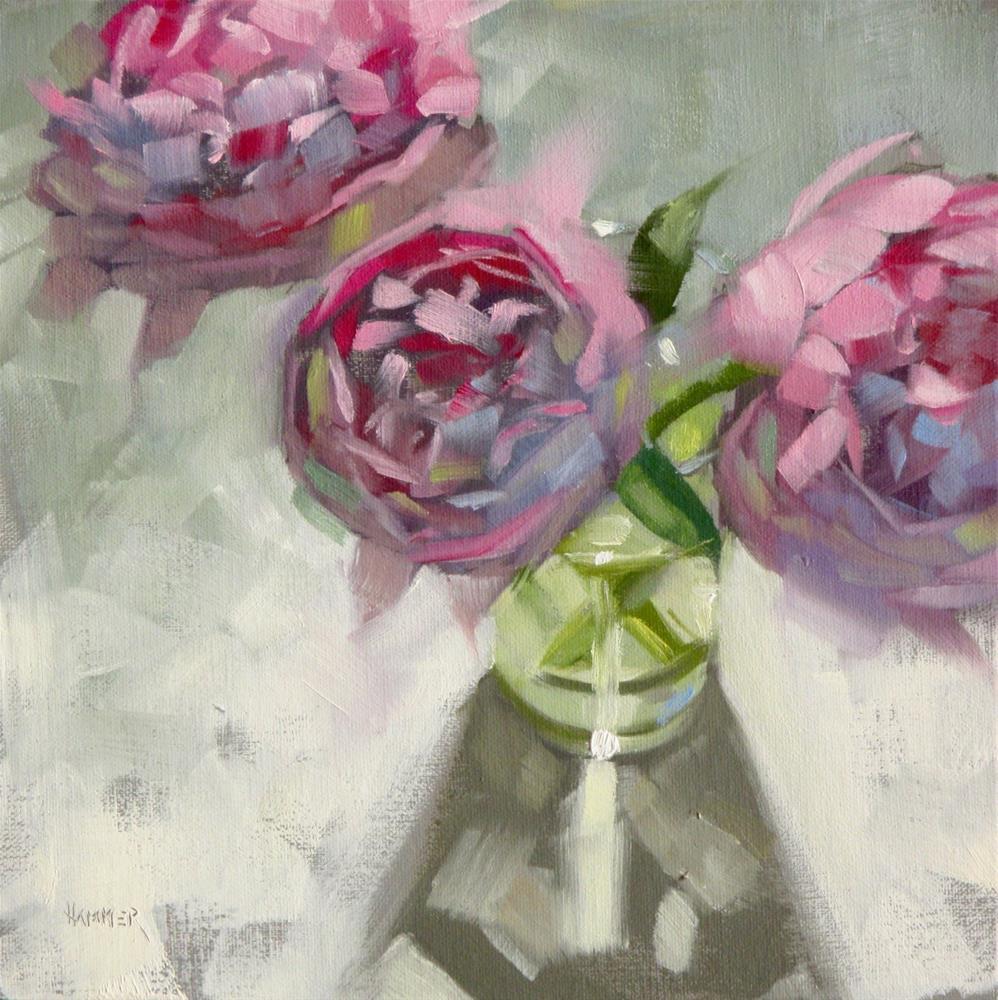 """Three Peonies  8in x 8in  oil"" original fine art by Claudia Hammer"