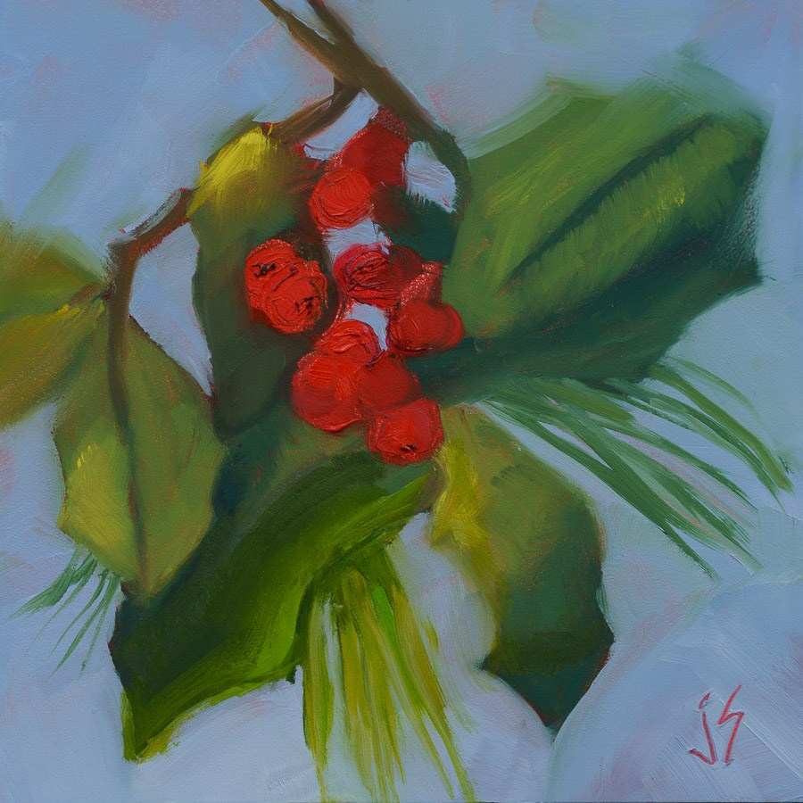 """Holly With White Pine - Kickoff January 30-n-30"" original fine art by Johnna Schelling"