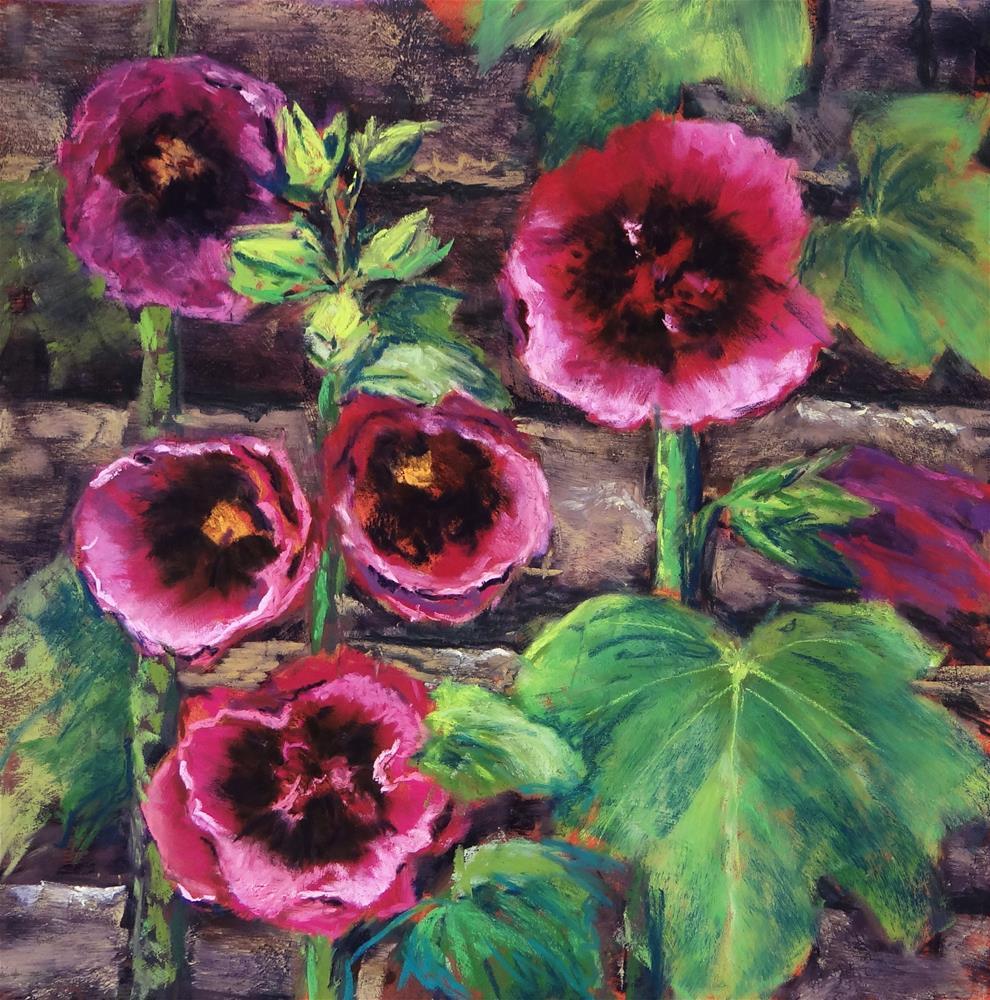 """Hollyhocks"" original fine art by Denise Beard"