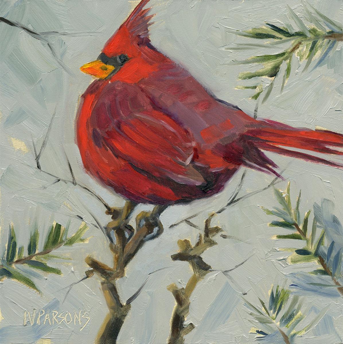 """A Cardinal Point"" original fine art by Nancy Parsons"