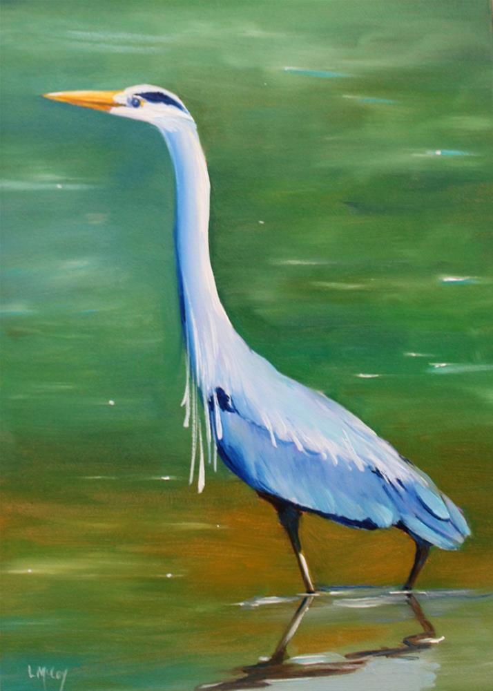 """""""Blue Heron, Bird Painting by Linda McCoy"""" original fine art by Linda McCoy"""