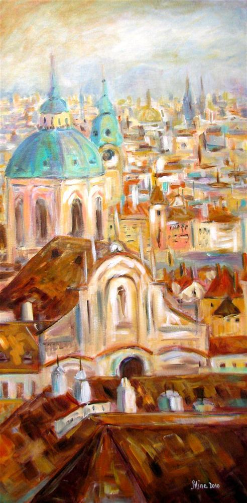 """""""Prague Rooftops"""" original fine art by Alina Vidulescu"""
