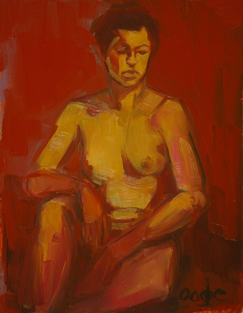 """Yellow and Red Nude Female"" original fine art by Angela Ooghe"
