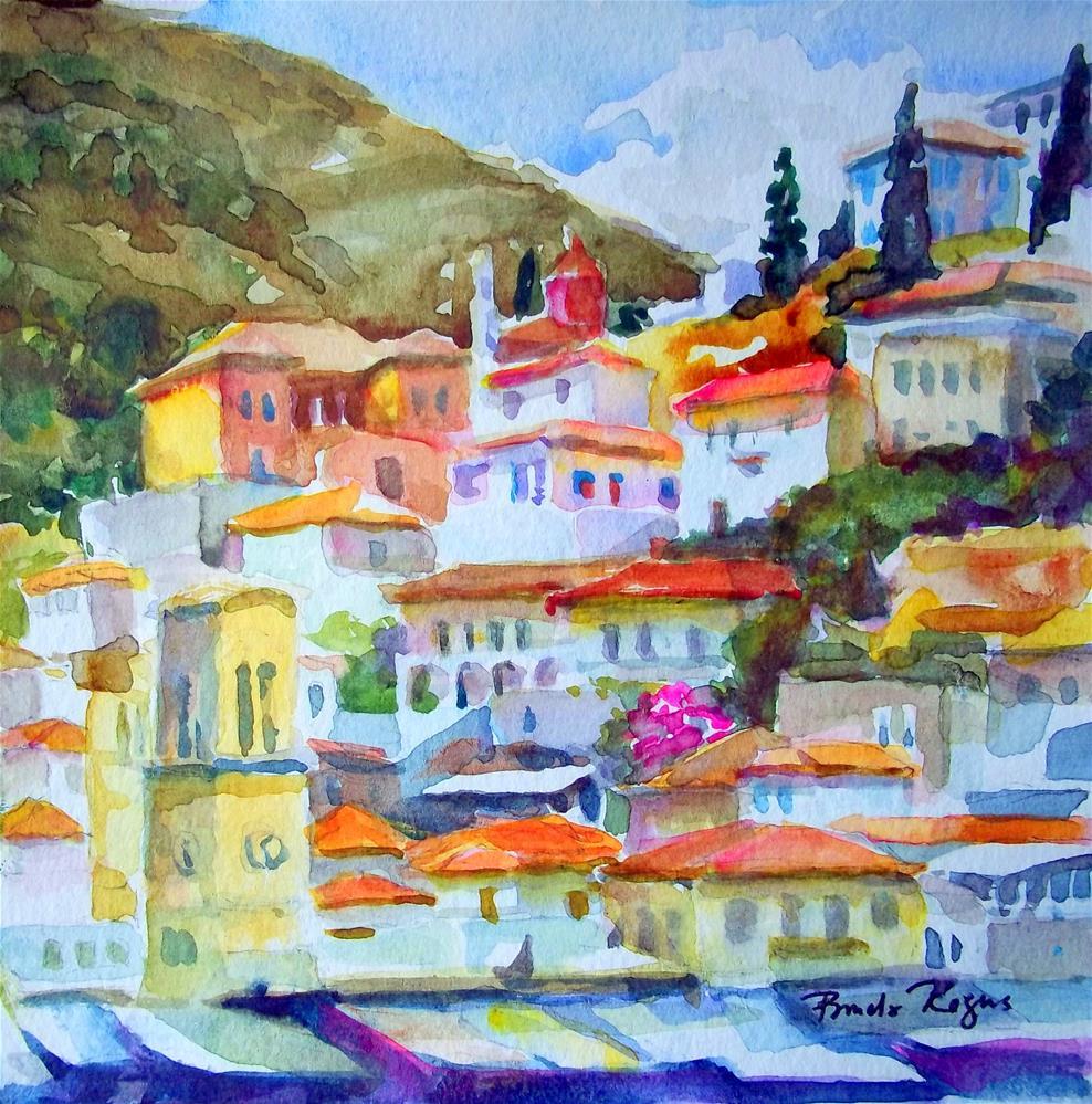 """""""Hydra Villas"""" original fine art by Pamela Jane Rogers"""
