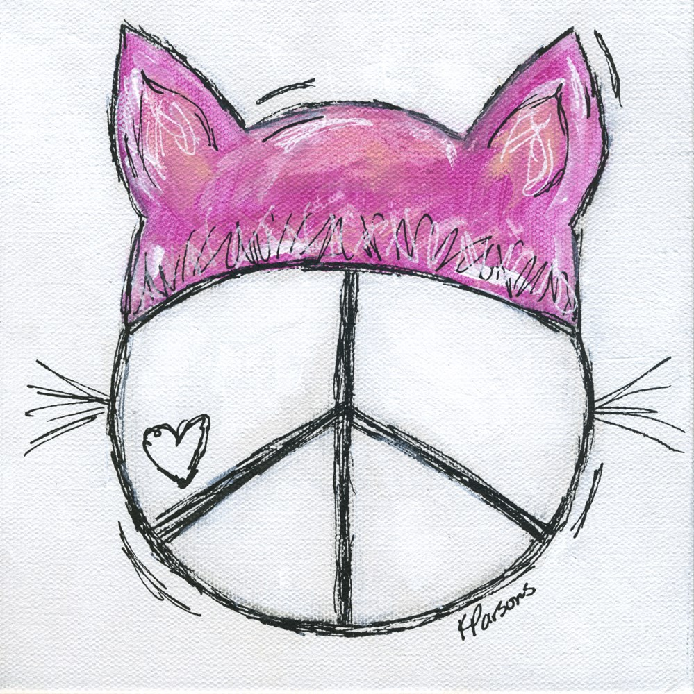 """Peace, Love, and Pussyhats 2"" original fine art by Kali Parsons"