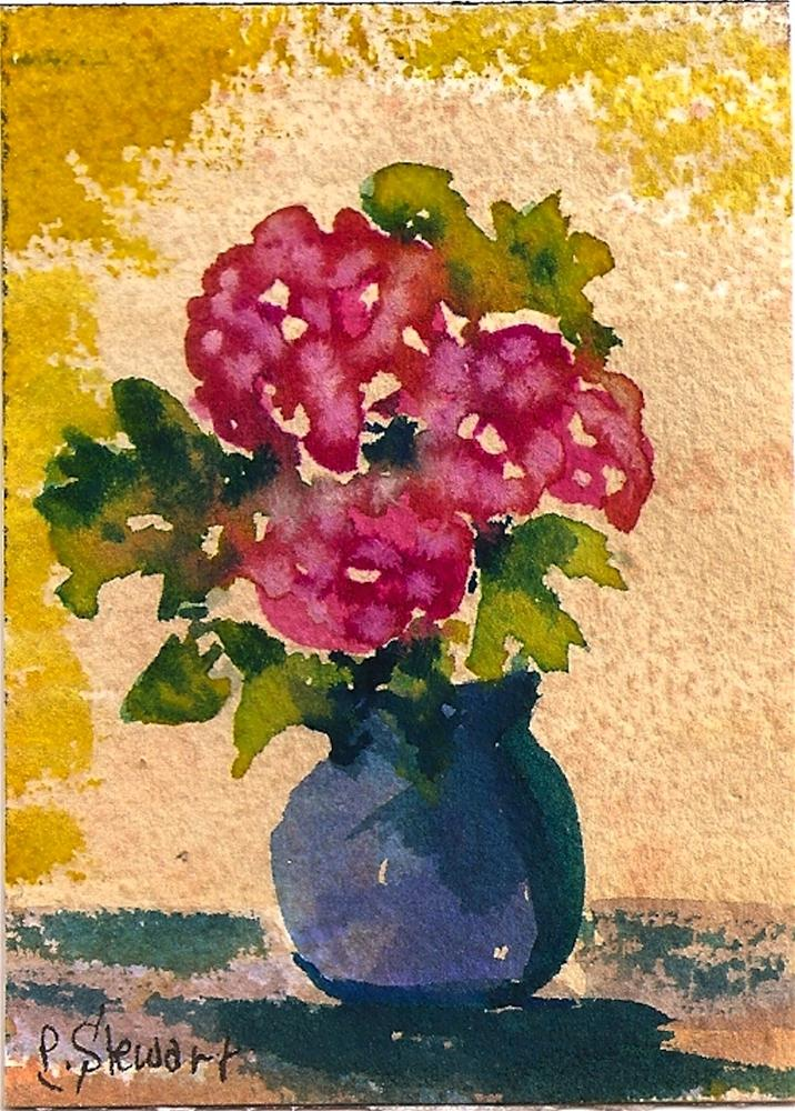 """ACEO Carnations in a Vase Flowers Bouquet"" original fine art by Penny Lee StewArt"