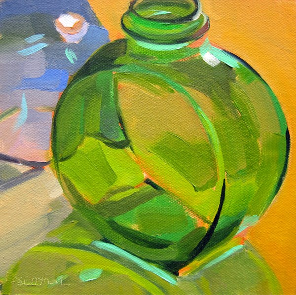 """Green and Blue Glass Bottles"" original fine art by Robin Rosenthal"