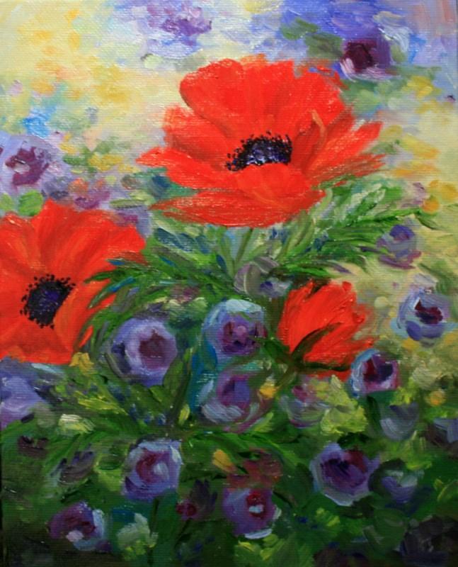 """Crimson and Purple, Too!"" original fine art by Jean Nelson"