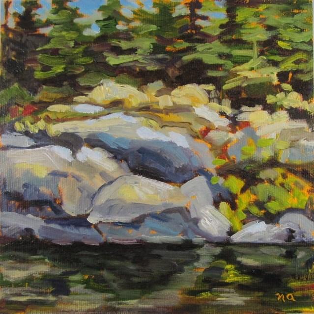 """Moss and Rocks"" original fine art by Nicki Ault"