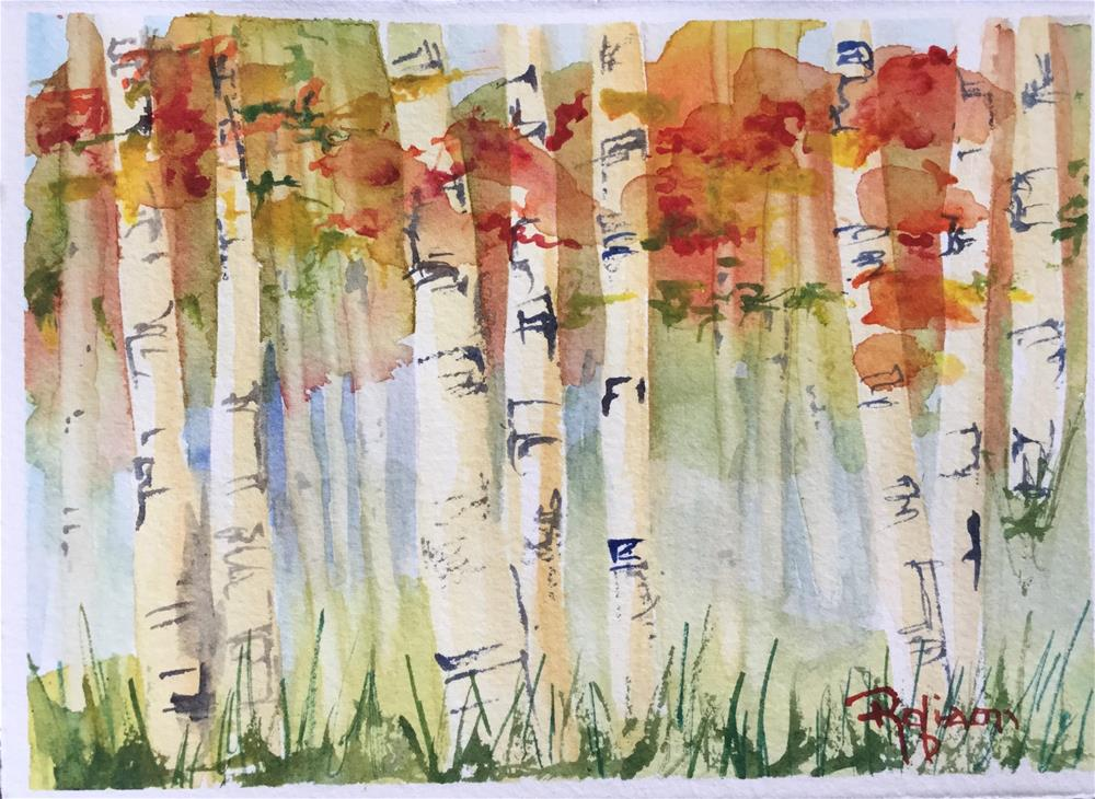 """Aspen Forest in Fall"" original fine art by Renee Robison"