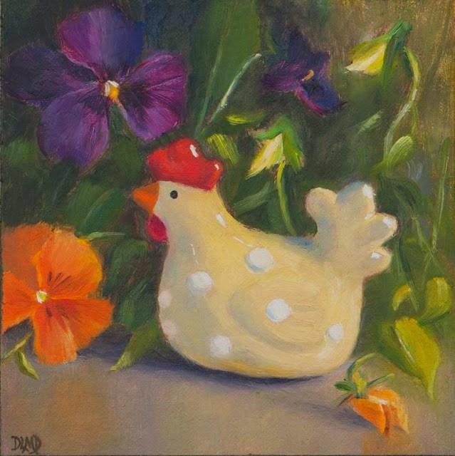 """The Travelling Chicken Project"" original fine art by Debbie Lamey-Macdonald"