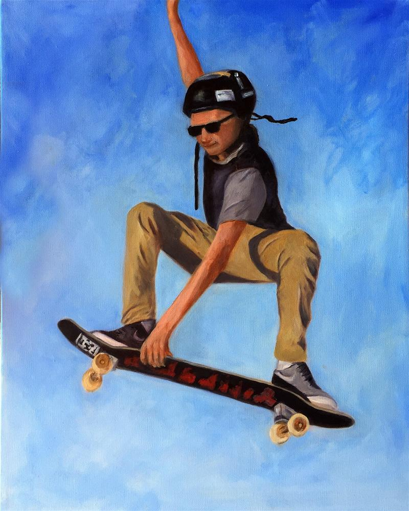 """Dylan Catching Air"" original fine art by Dicksie McDaniel"