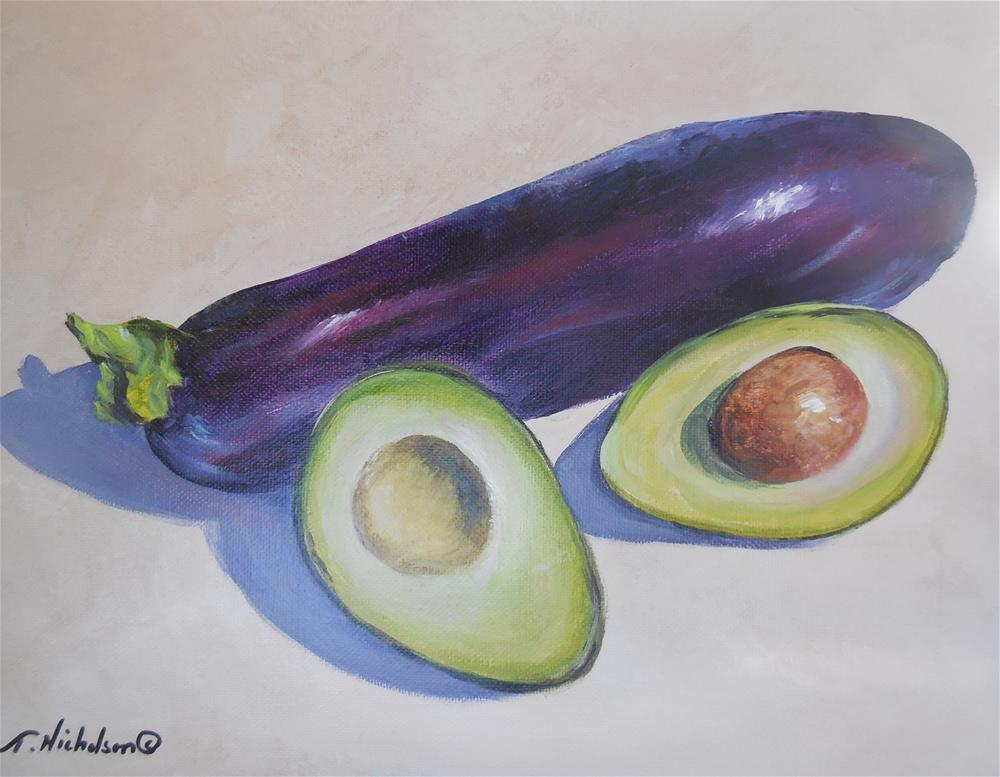 """Eggplant and Avocado"" original fine art by Terri Nicholson"