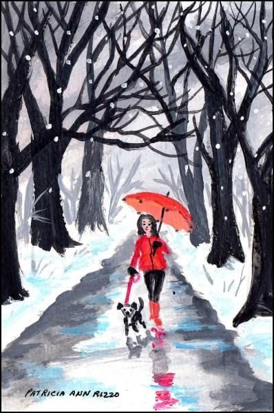 """""""Girl with the Red Umbrella 2"""" original fine art by Patricia Ann Rizzo"""