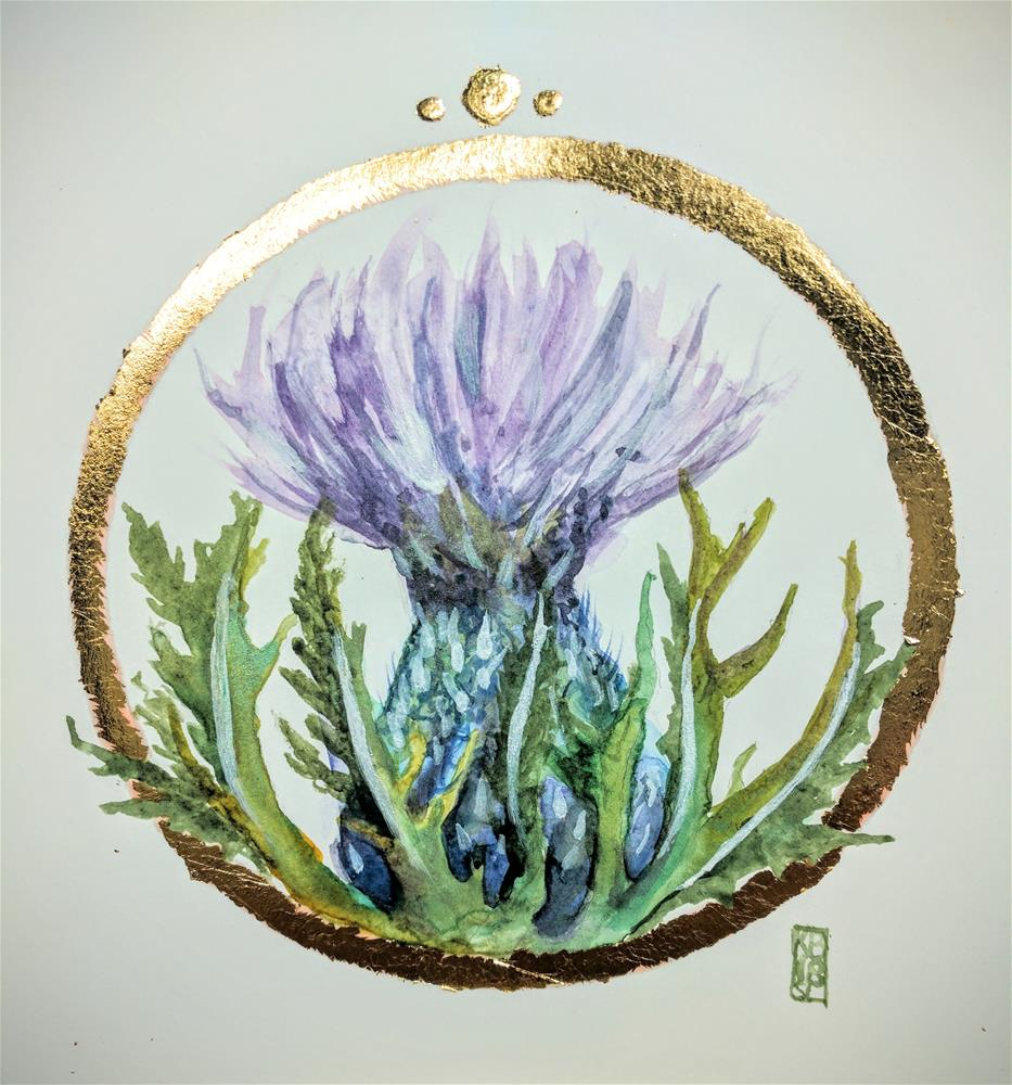 """Scottish Thistle"" original fine art by Kathleen Barnes"
