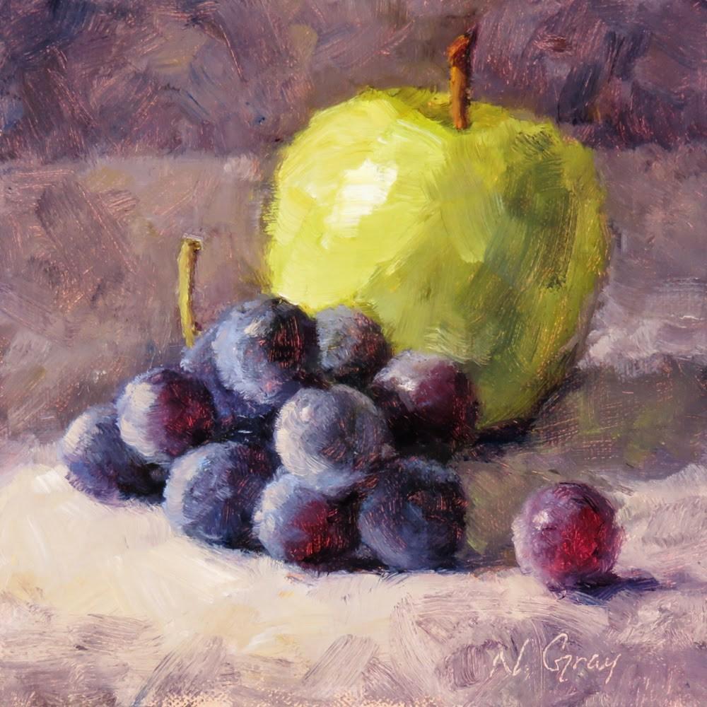 """Apple and Grapes"" original fine art by Naomi Gray"