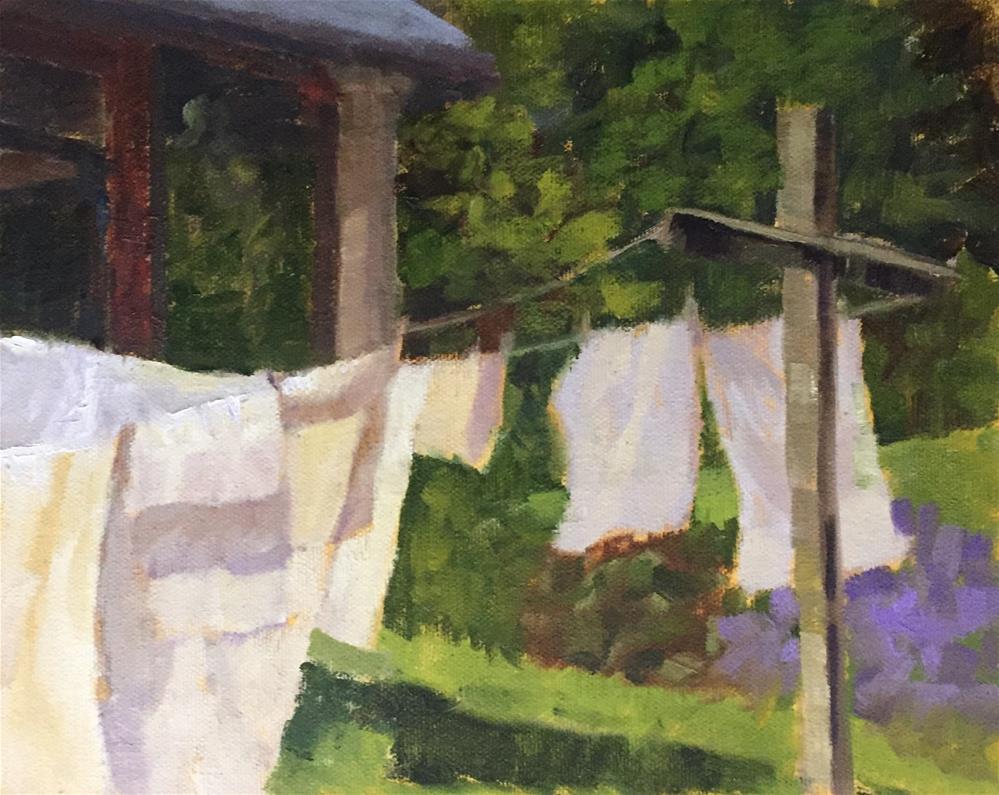 """Laundry Day"" original fine art by Pam Holnback"