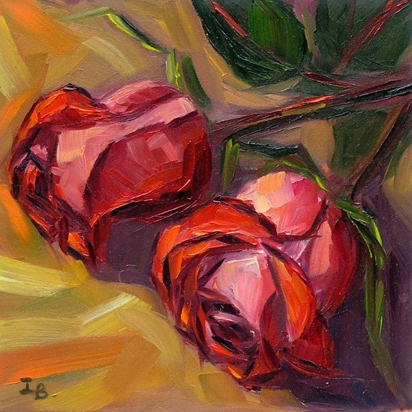 """Two roses"" original fine art by Irina Beskina"