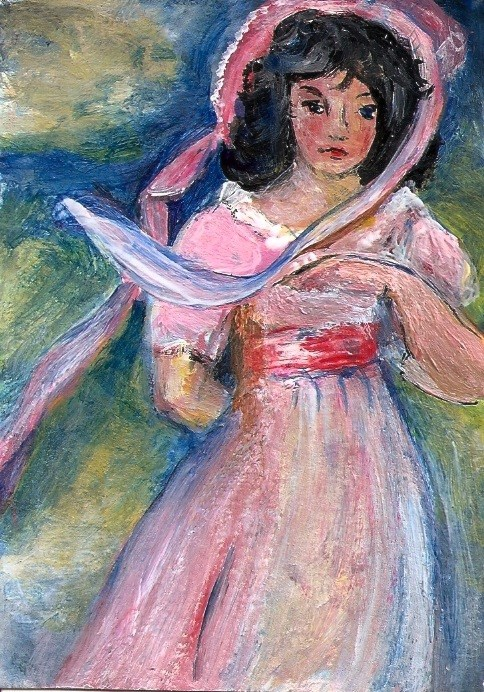 """""""ACEO Pinkie in the Style of Thomas Lawrence Miniature Masters Art Penny StewArt"""" original fine art by Penny Lee StewArt"""