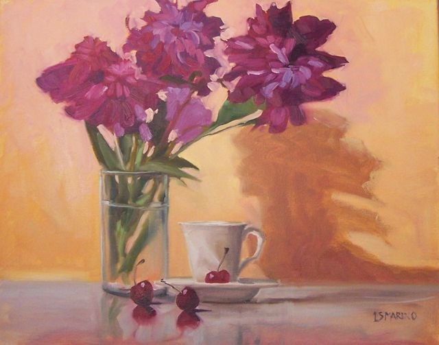 """Magenta Flowers and Cherries"" original fine art by Linda Marino"