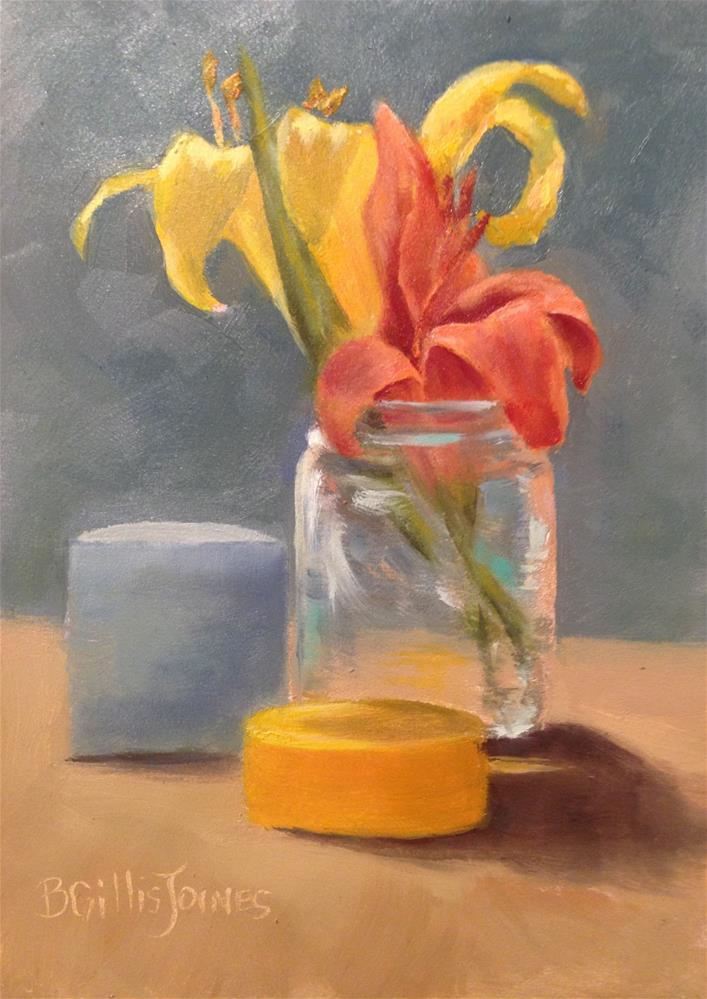 """Daylilies in Jar"" original fine art by Barbara Gillis Joines"